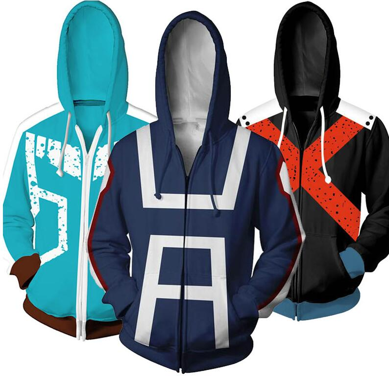 Anime Boku No My Hero Academia Dek 3D Outfits Hoodie Jacket Coat Uniform T-shirt Bakugou Katsuki Todoro Shouto Cosplay Costume