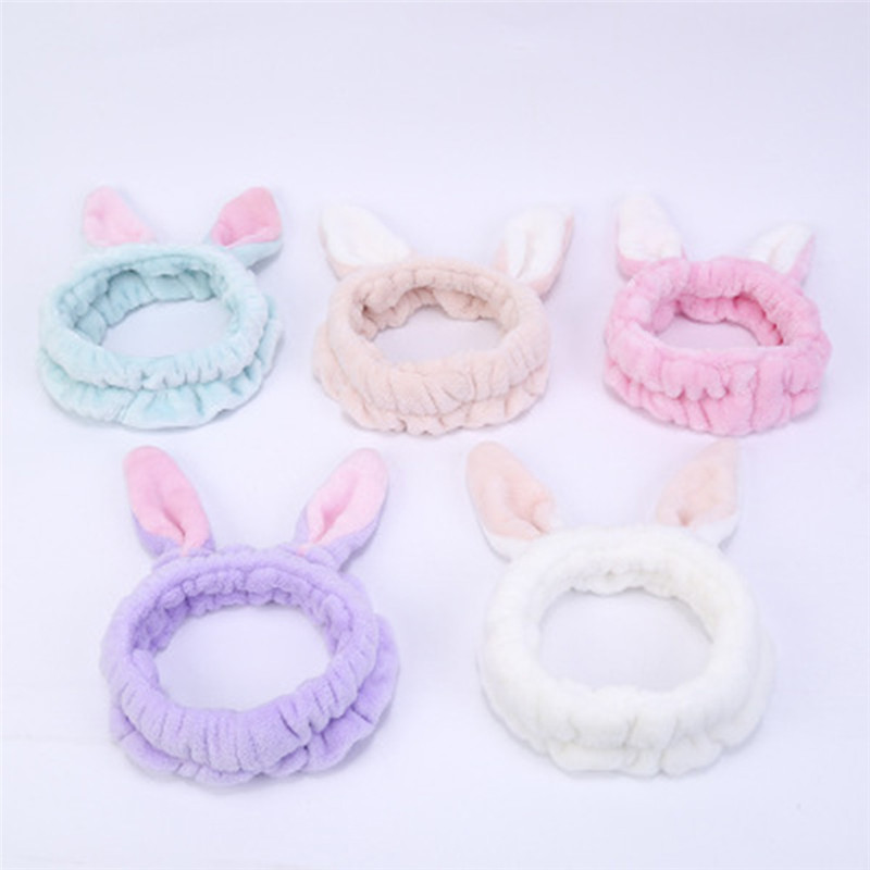 Flannel facial mask wash face Hairband Elastic Rabbit Ear Headbands Adorable Pink Hairband Cute Girls Makeup Headband Headwrap pink blue adorable cute owl wood clip20pcs