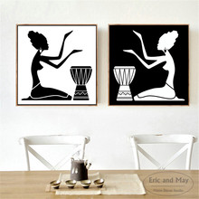 African Women Silhouette Canvas Art Print Painting Poster Wall Pictures For Living Room Home Decorative Bedroom Decor No Frame