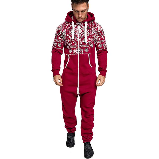 Casual Hoodie Print Christmas Jumpsuit Men – 21JS