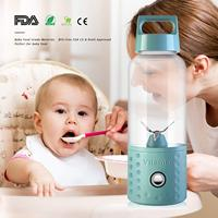 Portable Blender Ice Smoothie Blender USB Juicer Cup 17oz Fruit 4 Blades Mixing Machine Baby Food Detachable Mixer Drop Shipping