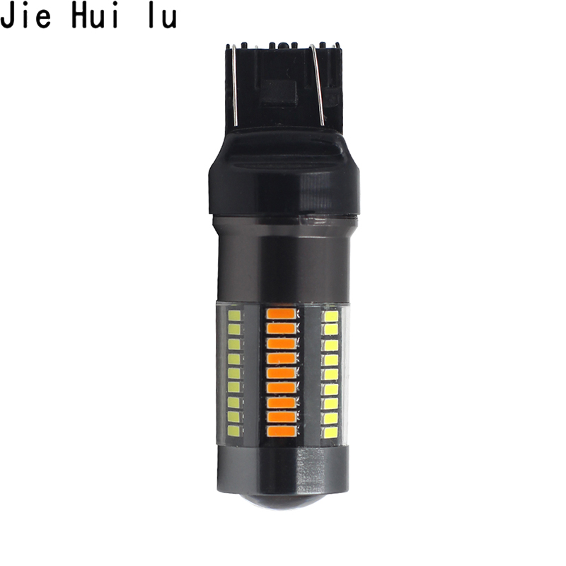 1 Pcs 1157 BAY15D T25 3157 T20 7443 Led 4014 66 SMD Auto Car Bulbs Turn Signal Lights Brake Lamp 12V Dual Color White Amber in Signal Lamp from Automobiles Motorcycles