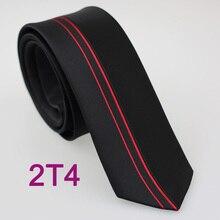 YIBEI Coachella Галстуки Для мужчин тонкий галстук-бабочка дизайн черный с красным с вертикальными полосами, микроволокнистый жаккард Тканый шейный платок, тонкий галстук