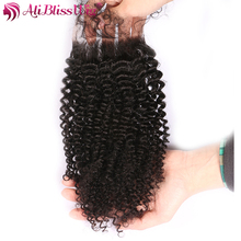 AliBlissWig Afro Kinky Curly Closure With Baby Hair 4x4 Natural Color Free Part Brazilian Remy Hair 100% Human Hair Closure