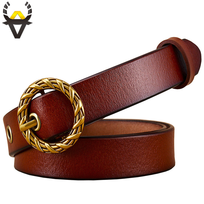 Fashion Round Knitted Pin buckle belt woman 2018 Genuine leather belts for women High quality Second layer cowskin strap female