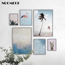 Gallery Wall Tropical Art Flamingo Canvas Painting Palm Tree Prints Ocean Poster Pineapple Posters and Beach Decor
