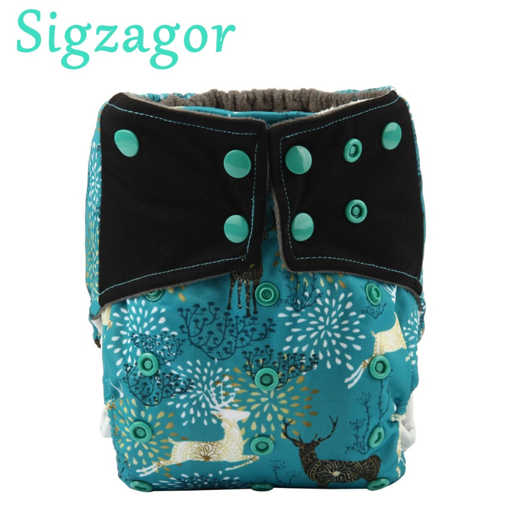 Sigzagor 10 Charcoal Bamboo Baby Cloth Diapers Nappy Washable Reusable Double Gusset No Inserts 3kg