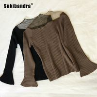 Sukibandra Long Flare Sleeve Autumn Women Knitted Sweater Casual Patchwork Mesh Pullover Jumper Sheer Elegant Ladies Sweaters