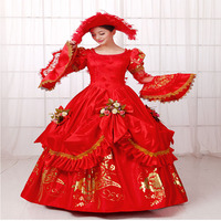2018 Red Long Flare Sleeve Gold Printing Muliti Layer European Court Rococo Party Dress Renaissance banquet Show Ball Gowns
