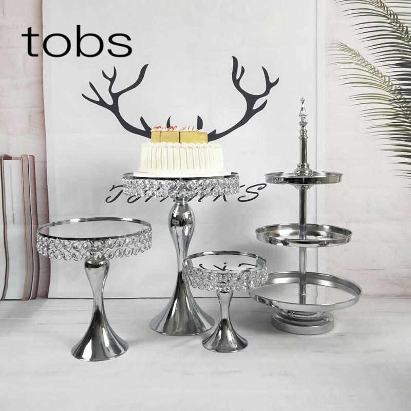 Cristal ensemble miroir en argent beau mariage de luxe gâteau stand fête fournisseur décoration