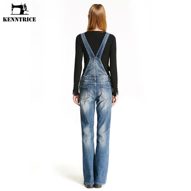 Longueur Femelle Denim Salopette Bleu Jeans Femmes Kenntrice Déchiré Poches Pleine 0zUaxxqw