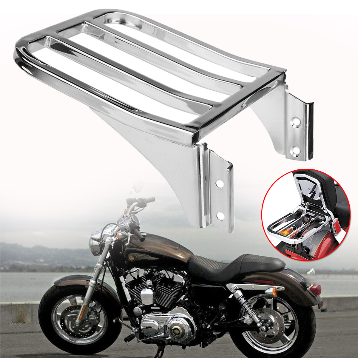 For Harley Sportster XL1200 883 72 48 Nightster Dyna Motorcycle Rear Luggage Rack Chrome Solo Seat Luggage Support Shelf Rack motorcycle bike parts custom rear luggage rack mount pole with american usa chrome flag for harley