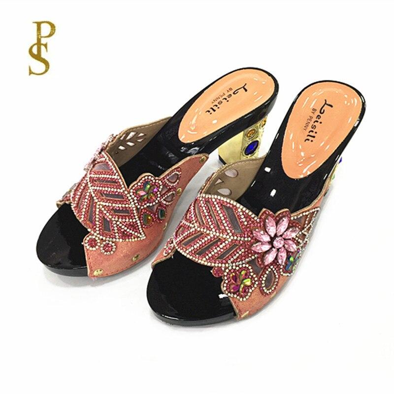 Женская обувь на высоком каблуке, красивая женская обувь со стразами, обувь для вечеринокТапочки   -