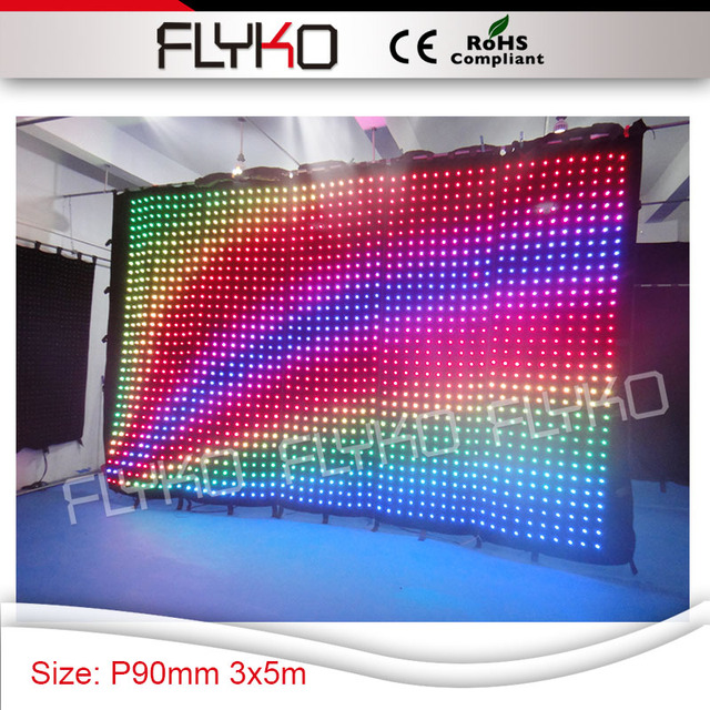 Color Changeable P9 Pixel Cloth Led Dj Background Screen Curtain Indoor 3x5m Flexible Bar Display