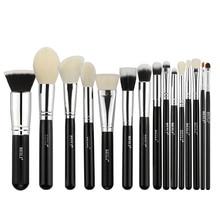 Beili cabra cabelo grande pó fundação blush sombra de olho contorno preto profissional maquiagem escova conjunto escova de cosméticos