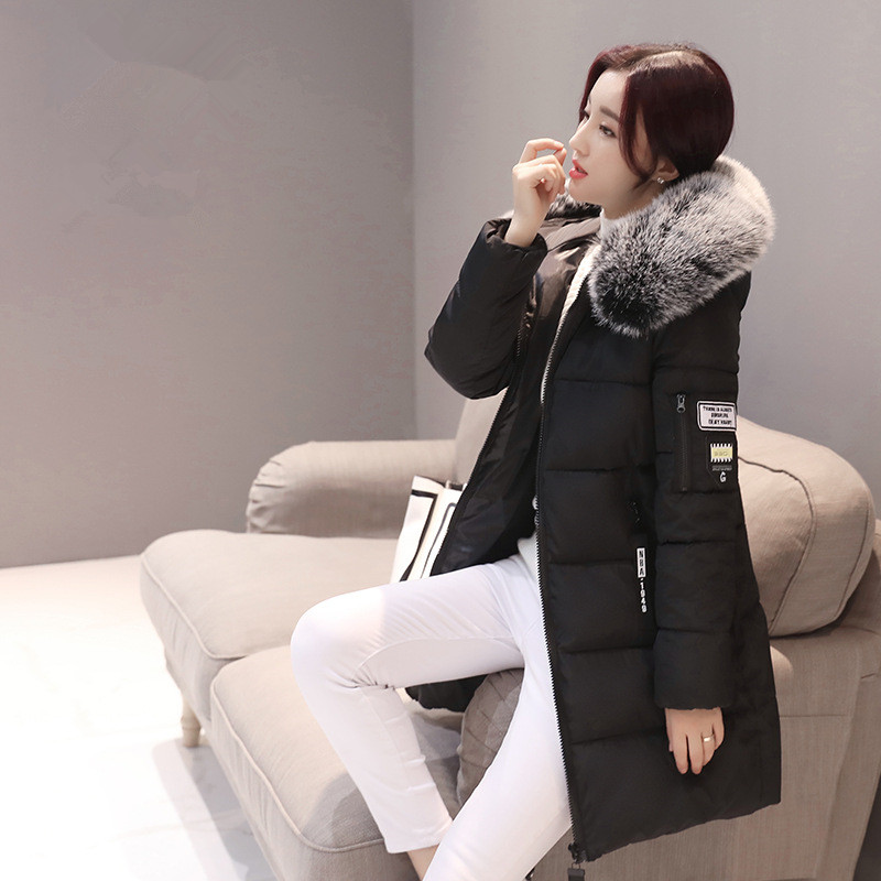 Winter   Jacket   Women Long Slim Hooded Coats &   Jackets   Warm Cotton   Basic     Jacket   Female Casual Outwear Black Red KLD1268