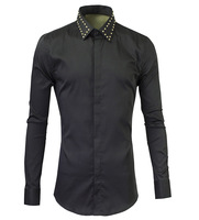 2016 New Pure Black Mens Casual Classic Shirts Rivet Collar Fashion Design Long Sleeve Shirt Slim