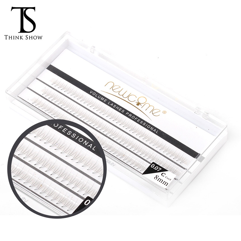Thinkshow 2pcs/Lot 8-12mm 3D Volume 0.07 C Individual Eyelash Extension 60 Knots Natural Eyelash Extension Silk Individual Lash