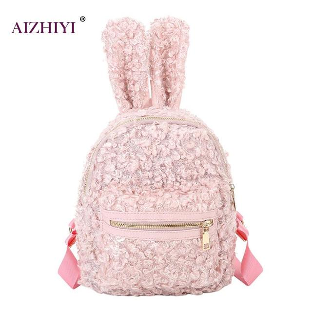 45ef420b60dc US $19.6 |Rabbit Ear Woolen Women Mini Backpacks Newest Cute Big Rabbit  Ears Double Shoulder Bag Small Backpacks Children Girls Travel Bag-in ...