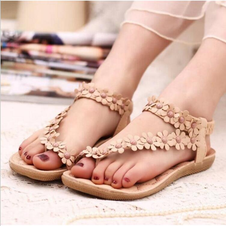 Dartin Partin New Fashion Women Shoes Flats Sandals Female Girl Casual PU Leather Flower Floral Beach