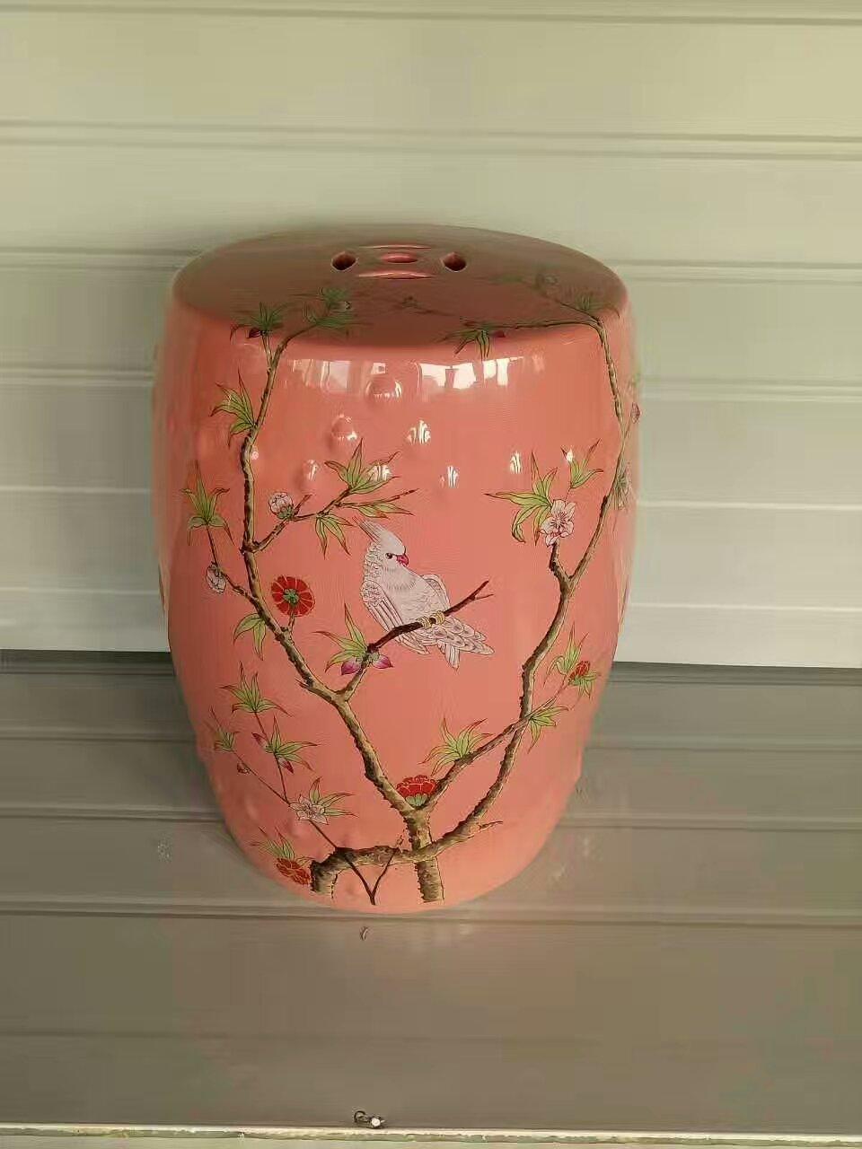 Parrot Painting Jindezhen Dressing Ceramic Garden Stool Chinese Ceramic  Drum Stool Bathroom Porcelain Pink Ceramic Drum Stool