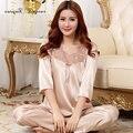 Бесплатная доставка Пижамы Костюм половины рукав выдалбливают вышивка цветочные кружева v шеи домашняя одежда 2 цвета