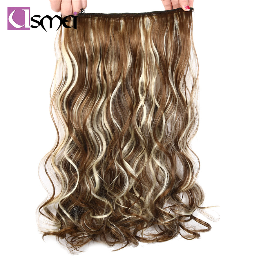 "USMei 24 אינץ 60 ס""מ שווא faus muiti צבע שחור בלונד נשים שיער הפאה סינטטי שיער קליפ חתיכה אחת תוספות"