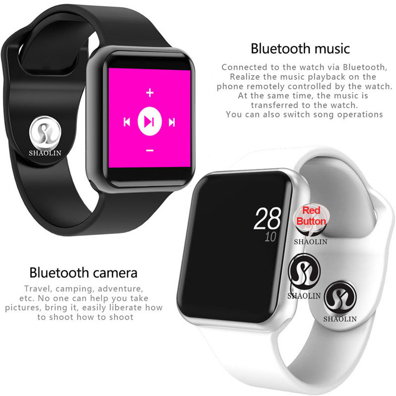 Image 2 - Smart Watch 4 Connected Bluetooth Men Women Smartwatch for iOS iPhone Xiaomi Huawei Sony Android Phone Apple Watch (Red Button)-in Smart Watches from Consumer Electronics