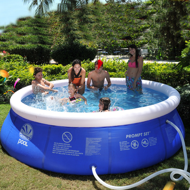 22e7217bef Inflatable Round Swimming Pool 1.8m For Adults Kids Large Blue PVC Infant  Above Ground Swim