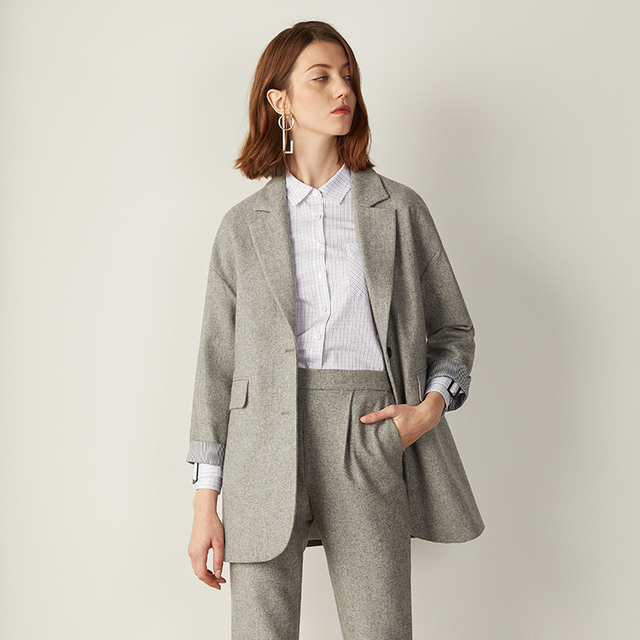 C Impress High Quality Women Casual Wrist Sleeve Suits Spring Gray