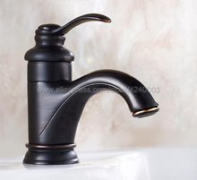 Oil Rubbed Bronze Basin Faucet Deck Mount Bathroom Vessel Sink Faucet - Single Hole / Handle Knf065 automatic touchless sensor waterfall bathroom sink vessel faucet oil rubbed bronze with hole cover plate