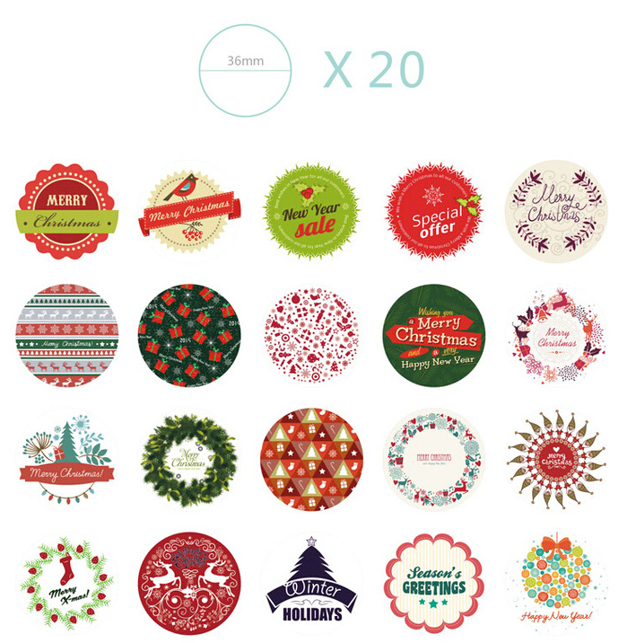 Aliexpress.com : Buy box christmas gift sticker labels,38 designs ...