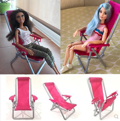 2018 New Pink Chair Foldable Deckchair Lounge Beach Chair Lovely Toy House Accessories Miniature Doll Furniture For Barbie Doll