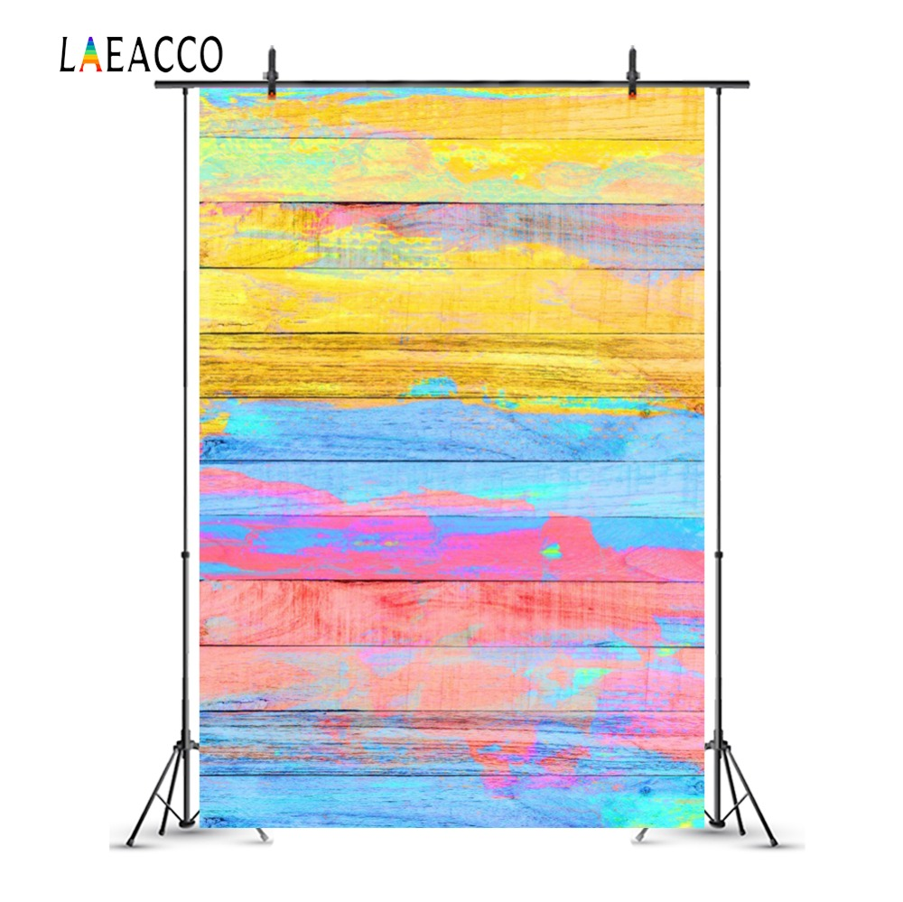 Laeacco Colorful Painted Wooden Board Baby Portrait Photography Backgrounds Customized Photographic Backdrops For Photo Studio