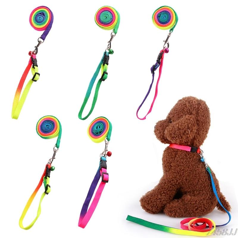 Adjustable Collar Leash Pet Puppy Dog Cat Rabbit Kitten Rainbow Harness Lead G03 Drop ship