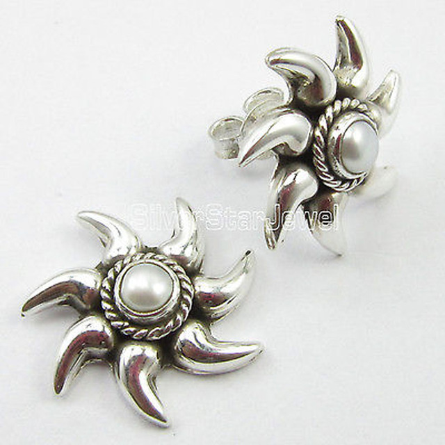 Solid Silver Beautiful AAA PEARL ETHNIC OXIDIZED SUN Stud Earrings 1.8 CM