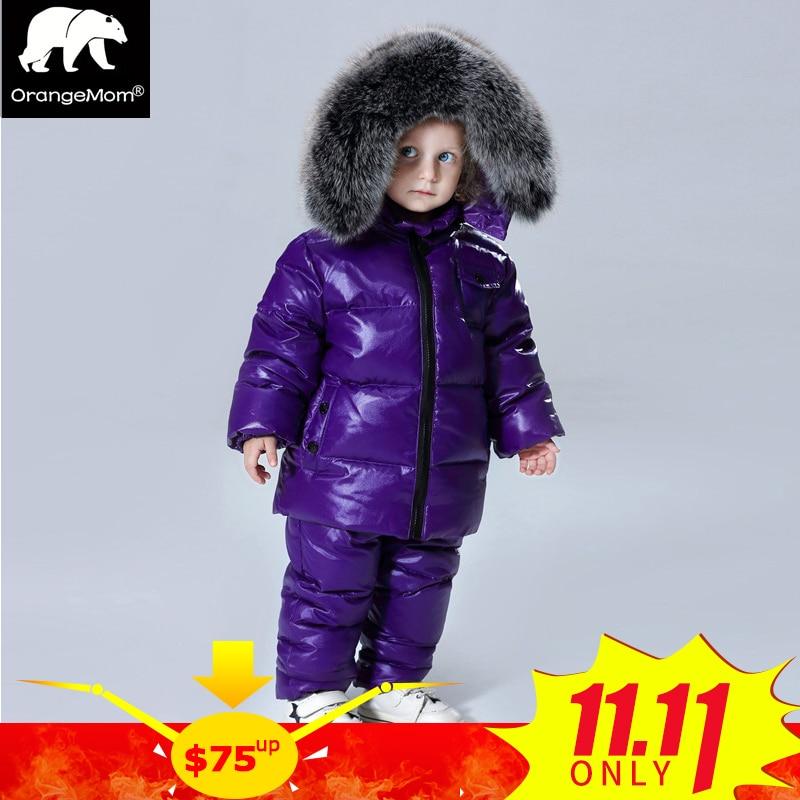 91198cb98 2018 winter jacket coat +pants 2 pcs/sets children clothing 1-12Y korean