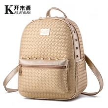 KLY 100% Genuine leather Women backpack 2016 New School Bags Fashionista Backpack New Fashion Leisure Korean women students