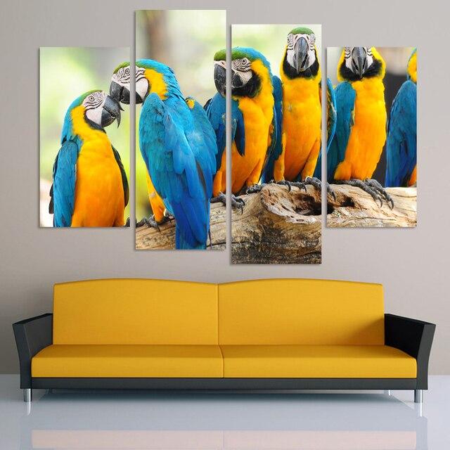 Unframed 4 Pcs/set Abstract Animal Canvas Art Blue Parrot Canvas ...
