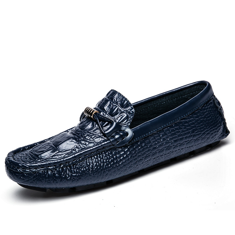 New Alligator Leather Men Shoes Casual Moccasins Men Loafers Slip On Blue Black dxkzmcm new men flats cow genuine leather slip on casual shoes men loafers moccasins sapatos men oxfords
