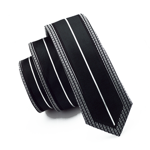 Hi-Tie Slim White Black Skinny Narrow Silk Ties For Men