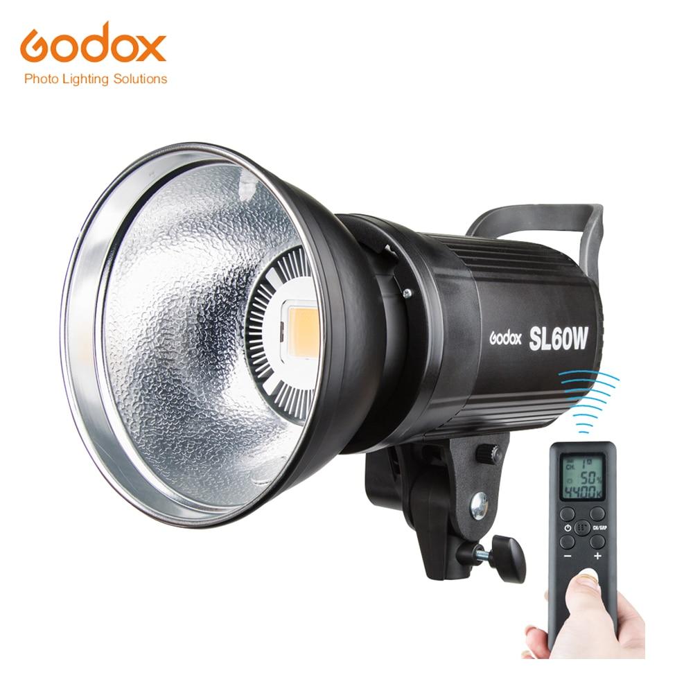 DHL gratuit!!! Godox SL-60W Version blanche LED lumière vidéo Bowens Mount 5600 K pour Studio de photographie enregistrement vidéo 110 V 220 V