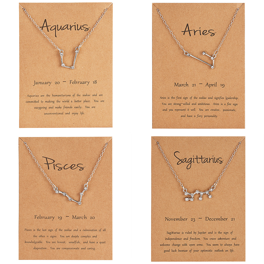US $0 62 30% OFF|12 Constellation Pendant Necklace Star Zodiac Sign Aries  Pisces Choker Necklace Birthday Gifts for Women Girl with Message card-in
