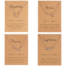 12 Constellation Pendant Necklace Star Zodiac Sign Aries Pisces Choker Birthday Gifts for Women Girl with Message card