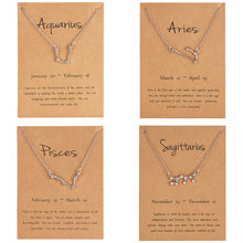12 takımyıldızı kolye kolye yıldız burç koç balık gerdanlık kolye doğum günü hediyeleri kadınlar için kız mesaj kartı ile