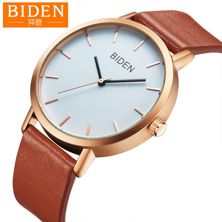 Women And Men Watches Genuine Leather Simple Biden Brand Woman Man Wristwatches Quartz Waterproof Black Brown Citizen Movement
