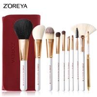 New 10pcs Makeup Brushes Rose Gold Cosmetic Brush Foundation Eyeshadow Eyeliner Lip Brush Kits With PU