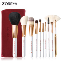 New 10pcs Makeup Brushes Rose Gold Cosmetic Brush Foundation Eyeshadow Eyeliner Lip Brush Kits With PU