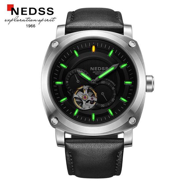 46fafd288f5 Mens relógios top marca de luxo NEDSS Gás Trítio Luminosas Homens Relógio  automático À Prova D