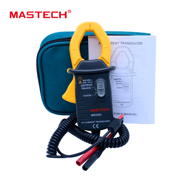 AC clamp Current Transducer MASTECH MS3302 0.1A-400A Clamp Meter Transducer True RMS TRMS MASTECH MS3302 mas tech pro mini mastech ms3302 ac current transducer 0 1a 400a clamp meter test hot sales